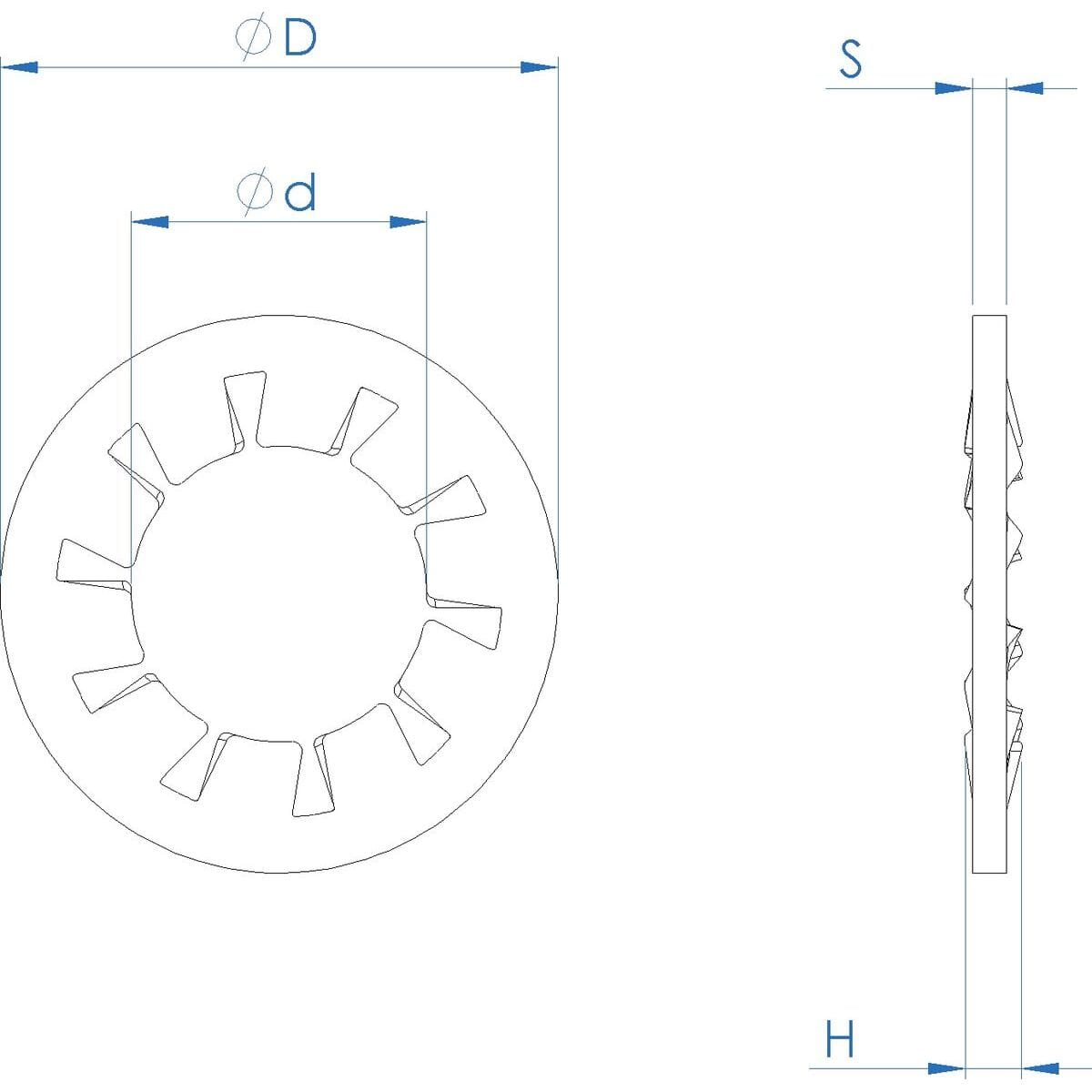 M6 Internal Locking Washers (DIN 6797J) - Stainless Steel (A2) Drawing