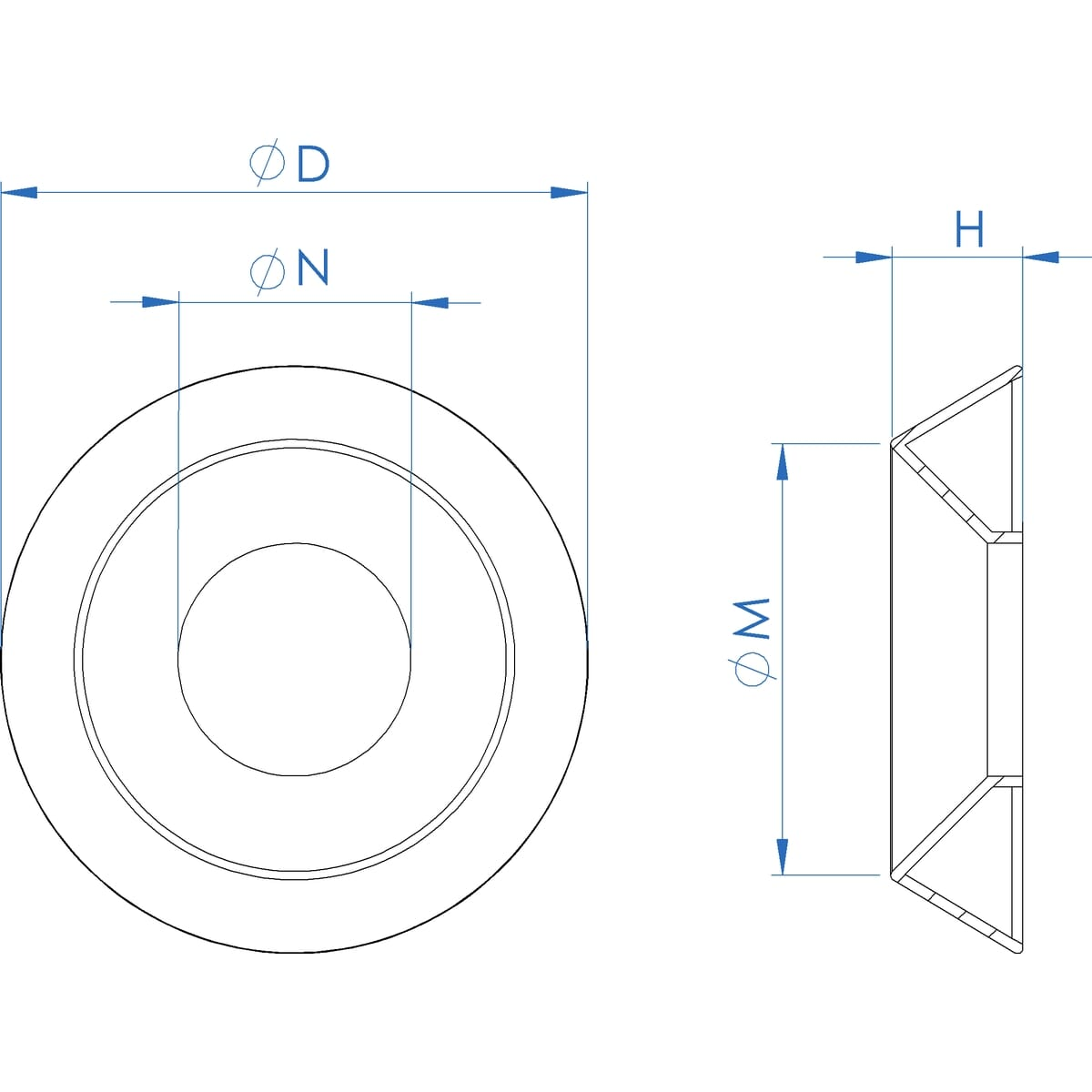 M5 Countersunk Washers (NF E 27-619) - Stainless Steel (A2) Drawing