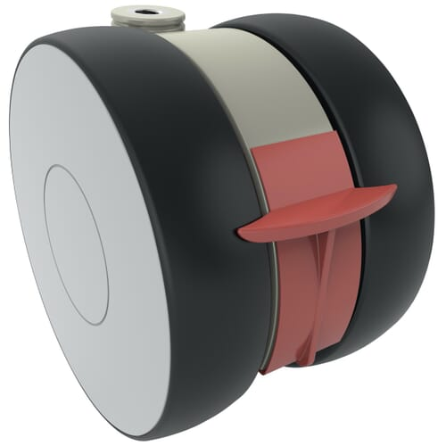 125mm Linea Institutional Castors - Polyamide Wheel Centre with Polyurethane Tread, Braked
