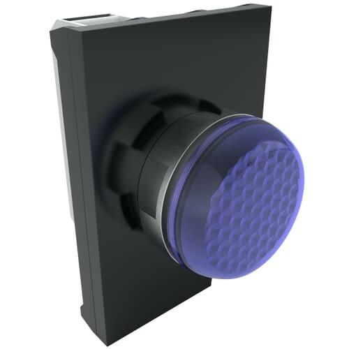 IP65 LED Pilot Lights With Contact Block, 100-250 V AC Nominal Voltage - Blue Metal