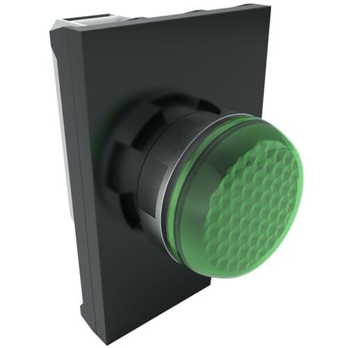 IP65 LED Pilot Lights With Contact Block, 100-250 V AC Nominal Voltage - Green Metal