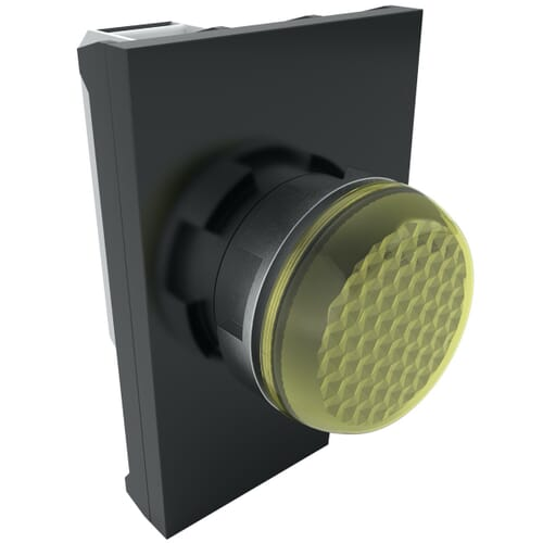 IP65 LED Pilot Lights With Contact Block, 100-250 V AC Nominal Voltage - Yellow Metal