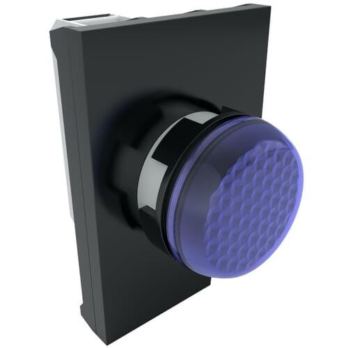 IP50 LED Pilot Lights With Contact Block, 100-250 V AC Nominal Voltage - Blue Polyamide