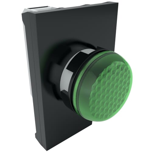 IP50 LED Pilot Lights With Contact Block, 100-250 V AC Nominal Voltage - Green Polyamide