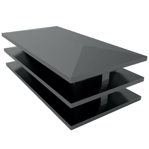 10 x 20mm Lightweight Rectangular Inserts - Black PE