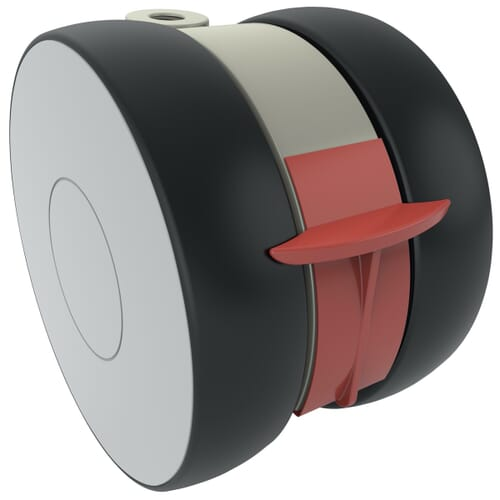 100mm x 73mm Levina Castors - Polyamide Wheel Centre With Polyurethane Tread - Braked