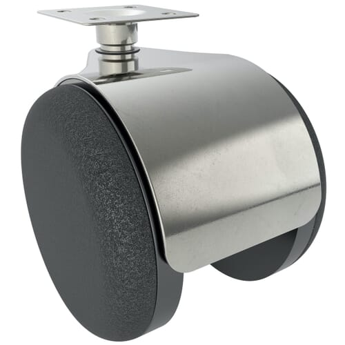 50mm Metal Hooded Castor With Swivel Plate Fitting - Polyamide Wheel