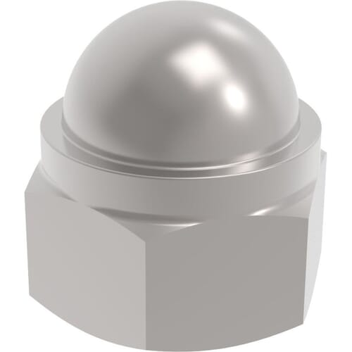 M5 Nylon Locking Dome Nuts (DIN 986) - Stainless Steel (A2)