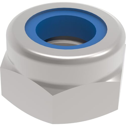1/2-20 UNF Thin Hexagon Nylon Locking Nuts - Stainless Steel (A2)