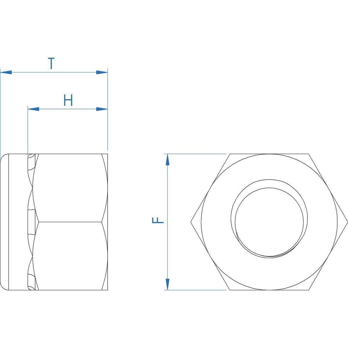M5 High Nylon Locking Nuts (DIN 982) - Marine Stainless Steel (A4) Drawing