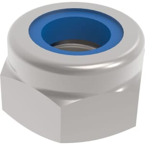 M10 Hexagon Nylon Locking Nuts (DIN 985) - Stainless Steel (A2)