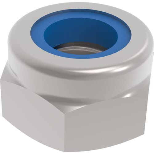 M10 Fine Pitch Hexagon Nylon Locking Nuts - 1mm Pitch (DIN 985) - Stainless Steel (A2)