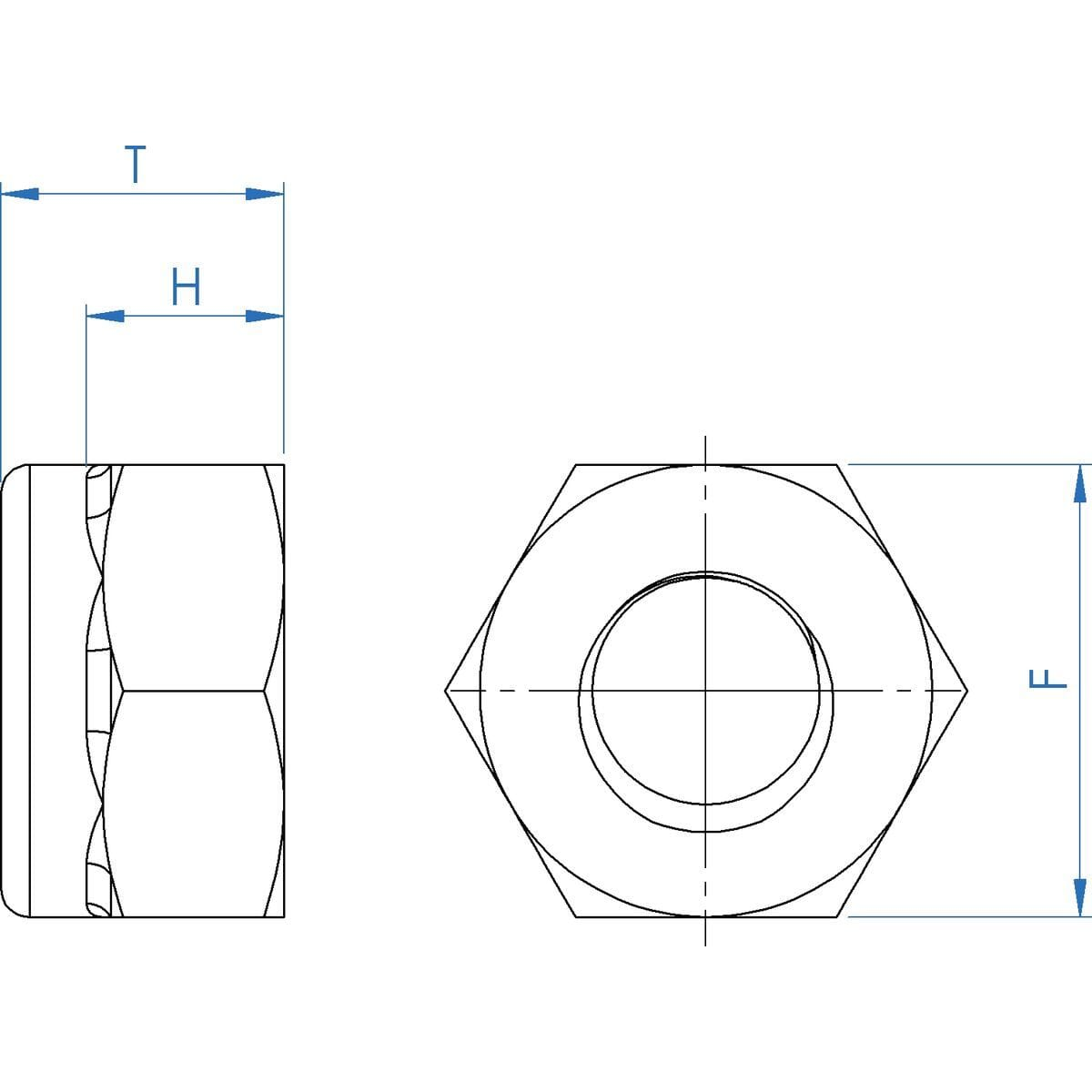 M10 Fine Pitch Hexagon Nylon Locking Nuts - 1mm Pitch (DIN 985) - Stainless Steel (A2) Drawing