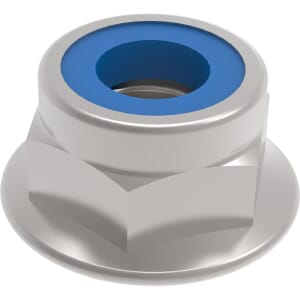 M6 Serrated Flanged Nylon Locking Nuts (DIN 6926) - Stainless Steel (A2)