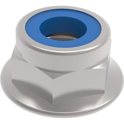 M4 Flanged Nylon Hexagon Nuts (DIN 6926) - Stainless Steel (A2)