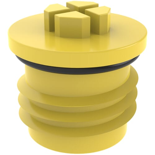M10 x 1 x 10.0mm O-Ring Threaded Plugs - Yellow High Density Polyethylene
