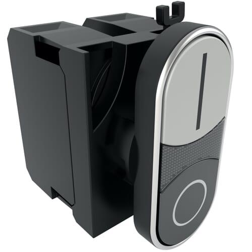 22mm IP50 Plastic Double Headed Flush Push Button Switch- Black/White Polyamide
