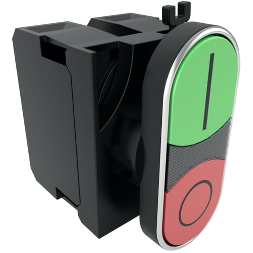 22mm IP50 Plastic Double Headed Flush Push Button Switch- Red/Green Polyamide