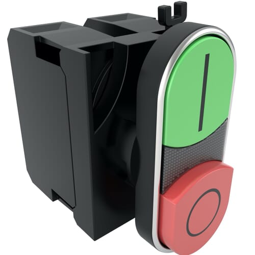 22mm IP50 Plastic Double Headed Extended Push Button Switch- Red/Green Polyamide