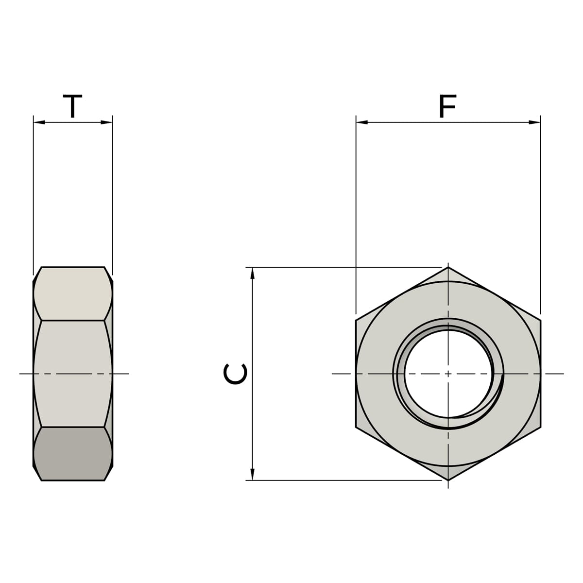 M12 Hexagon Nuts (DIN 934) - Stainless Steel (A2) Drawing