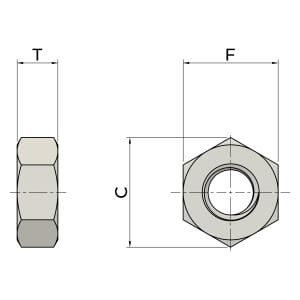 M10 Hexagon Nuts (DIN 934) - Stainless Steel (A2)