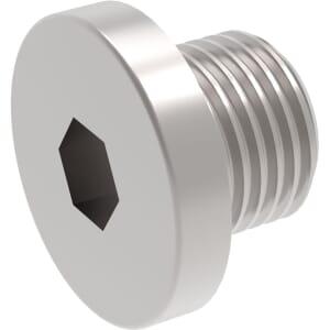 M10 x 11mm Flat Head Socket Pipe Plugs (DIN 908) - Marine Stainless Steel (A4)