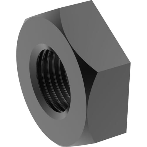 1 inch x 46mm A/F Pipe Nuts (DIN 431) - Black Stainless Steel (A2)