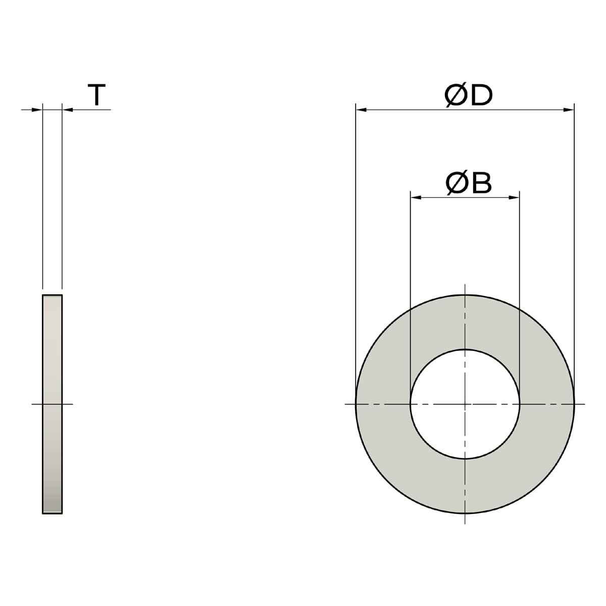 13.3mm x 22mm x 1.5mm Flat Washers - Nylon Drawing
