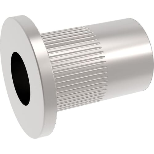 M4 x 10mm Knurled Flat Rivet Nuts - Stainless Steel (A2)