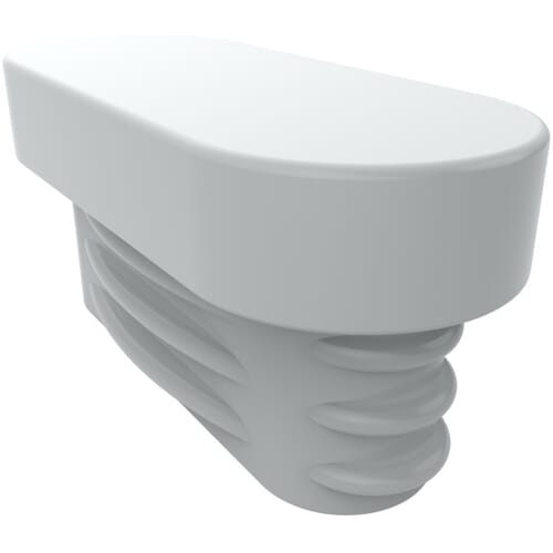 20mm x 10mm Ribbed Oval Inserts - White LDPE