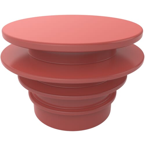 84mm x 31.5mm Ribbed Pipe End Plugs - Red LDPE
