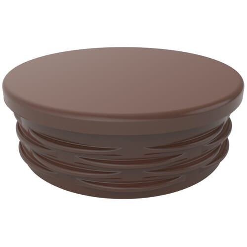 25.4mm x 1-3mm Round Ribbed Inserts - Brown Low Density Polyethylene