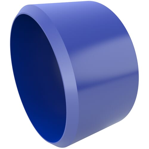 38.0mm x 21.4mm Secure Cover Cap Bases - Blue Polypropylene