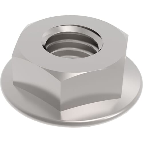M6 Serrated Flanged Hexagon Nuts (DIN 6923) - Stainless Steel (A2)