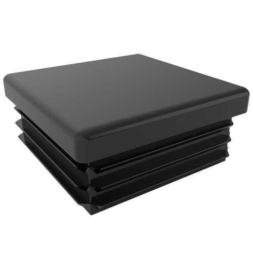 25mm x 11.5mm x 1-2.5mm Ribbed Square Inserts - Polished Black Low Density Polyethylene