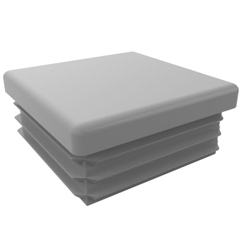 20mm x 11.5mm x 1.5-2mm Ribbed Square Inserts - Eroded Mid Grey Low Density Polyethylene
