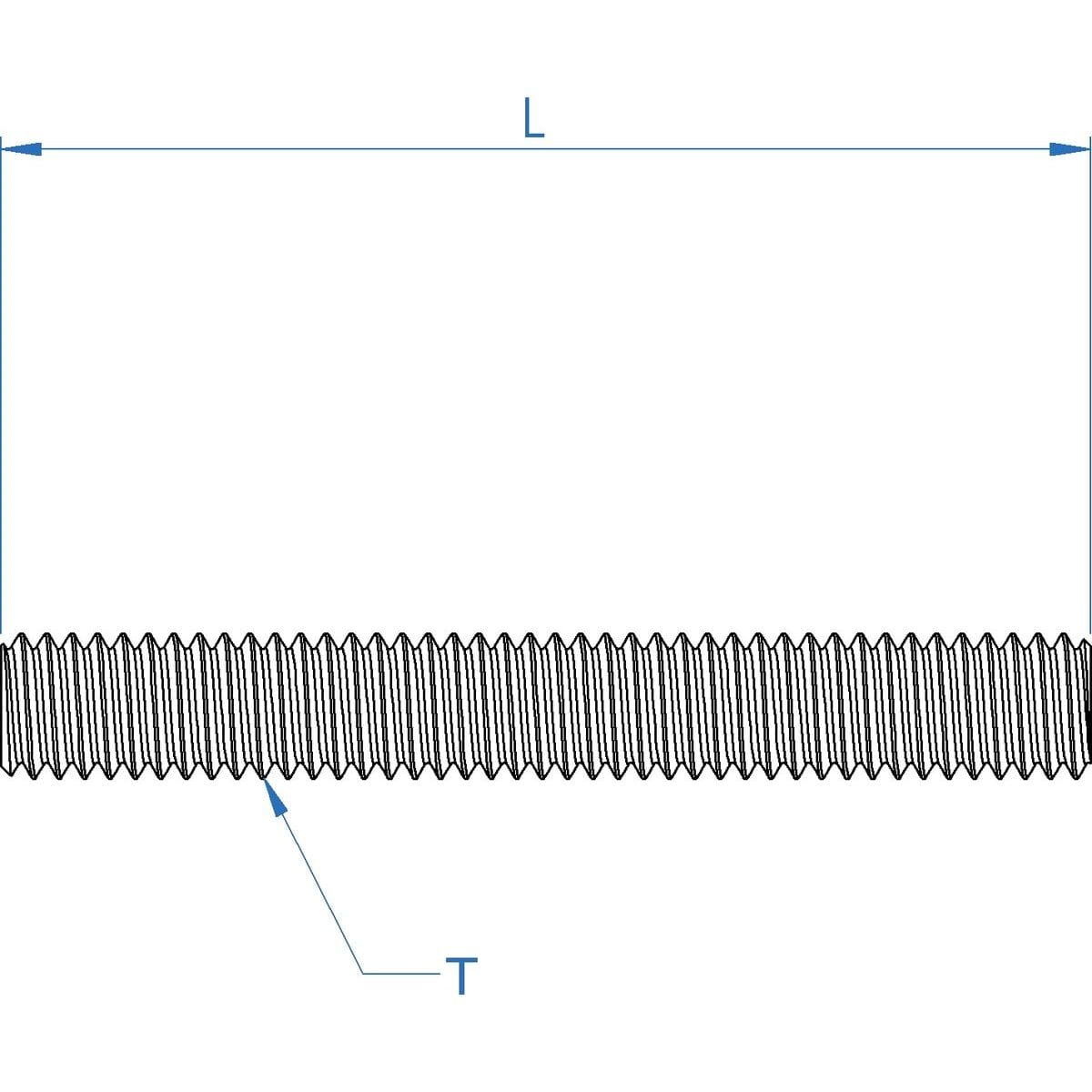 M3 x 1000mm Threaded Bars (DIN 975) - Stainless Steel (A2) Drawing