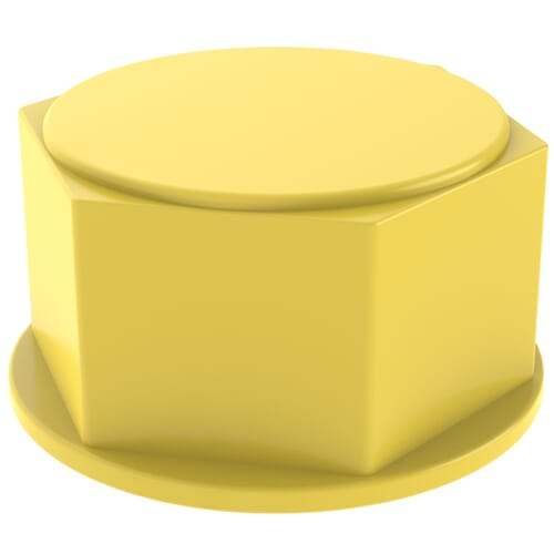 1-11 x 0.748 inch Threaded Sealing Caps - Yellow HDPE
