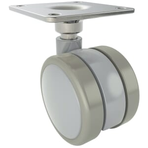 120mm x 66mm Twin Wheel Castors With Rubber Wheel And Swivel Plate, Unbraked - Black Thermoplastic