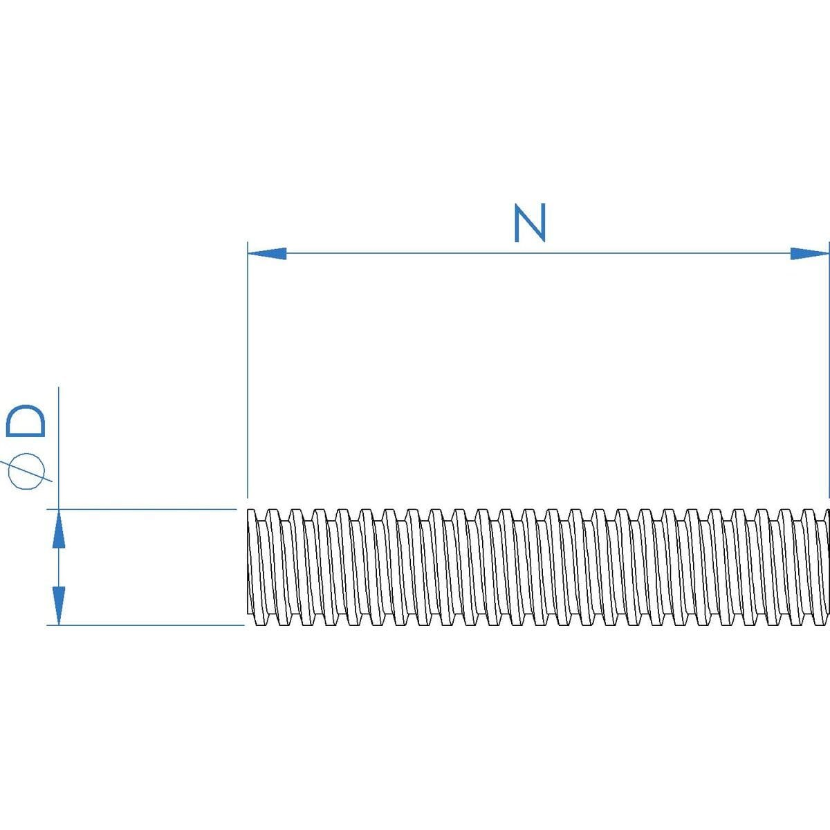 TR28x5 (28mm x 5mm Lead) x 260mm Trapezoidal Lead Screws - Marine Stainless Steel (A4) Drawing
