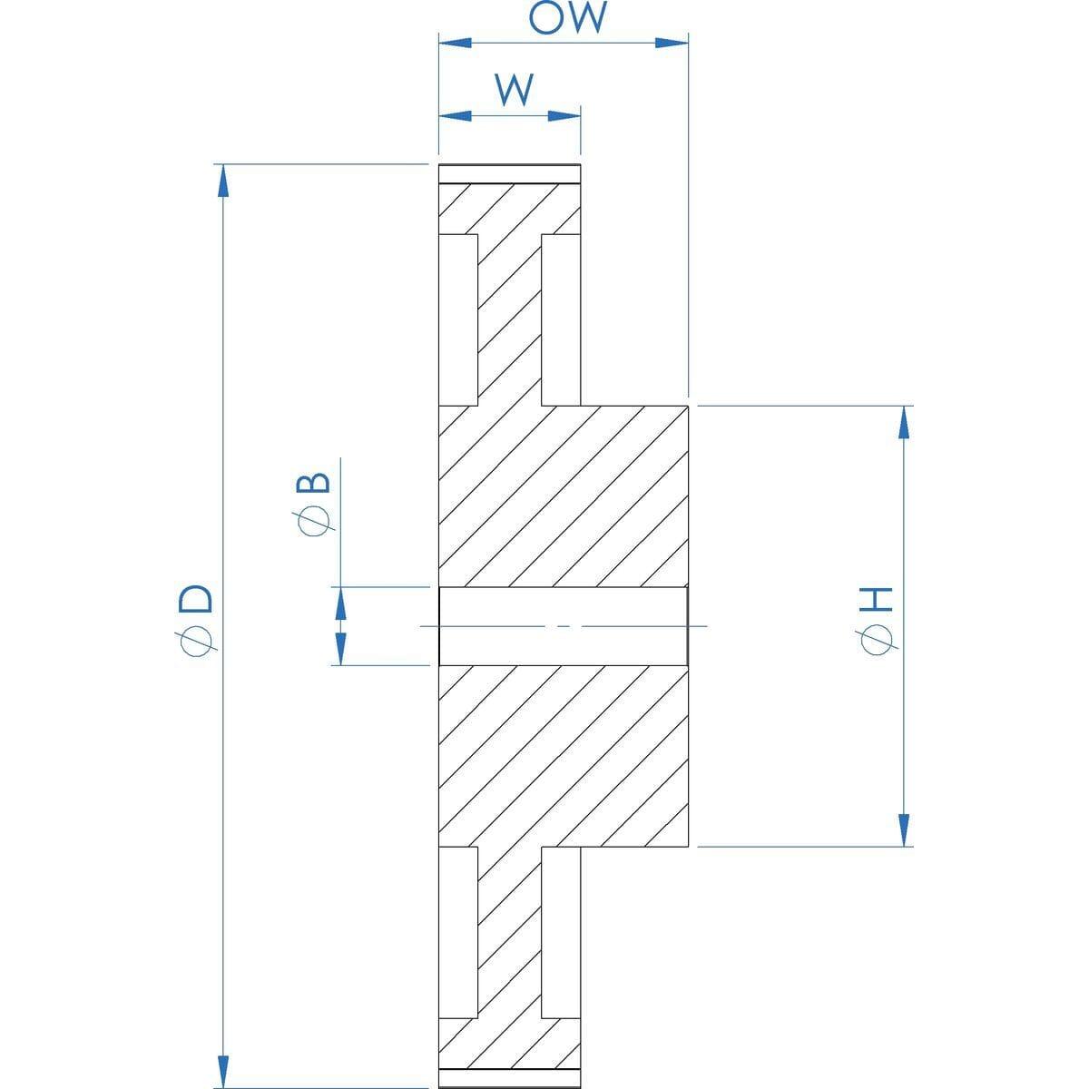 60 Teeth x 9.53mm Belt Width, XL Type Precision Timing Pulleys - P60XL037 Drawing