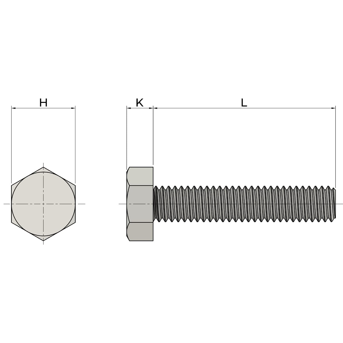 M16 x 190mm Full Thread Hexagon Bolts (DIN 933) - High Tensile Stainless Steel (A4-80) Drawing