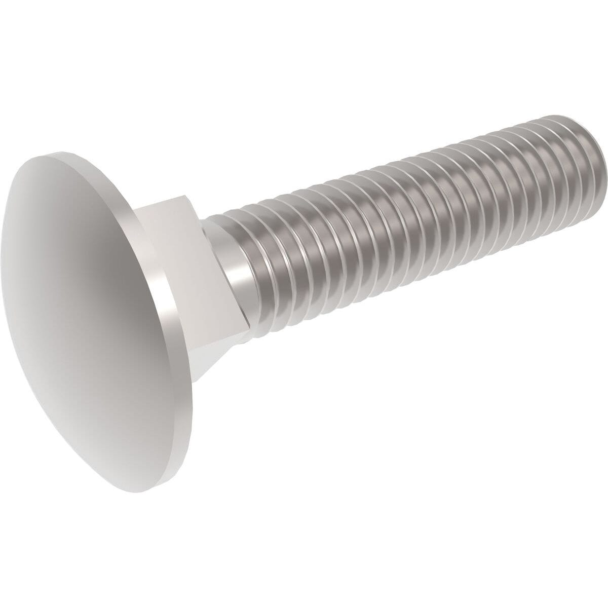 M6 x 60mm Full Thread Carriage Bolts (DIN 603) - Marine Stainless Steel (A4)