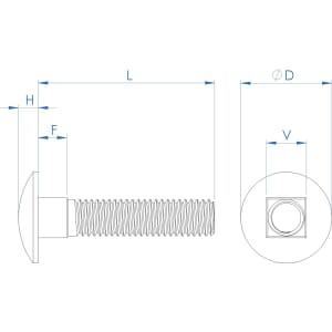 M16 x 50mm Full Thread Carriage Bolts (DIN 603) - Marine Stainless Steel (A4)