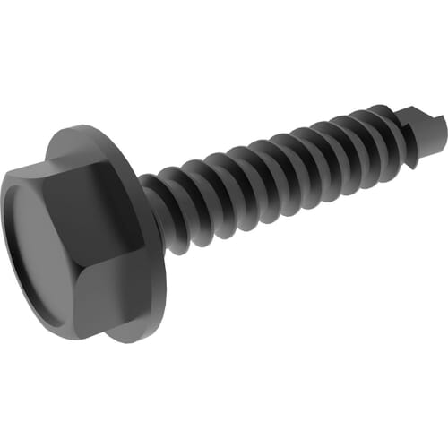No.10 (4.8mm) x 32mm Self Drilling Flanged Hexagon Tek Bolts (DIN 7504K) - Black Stainless Steel (A2)