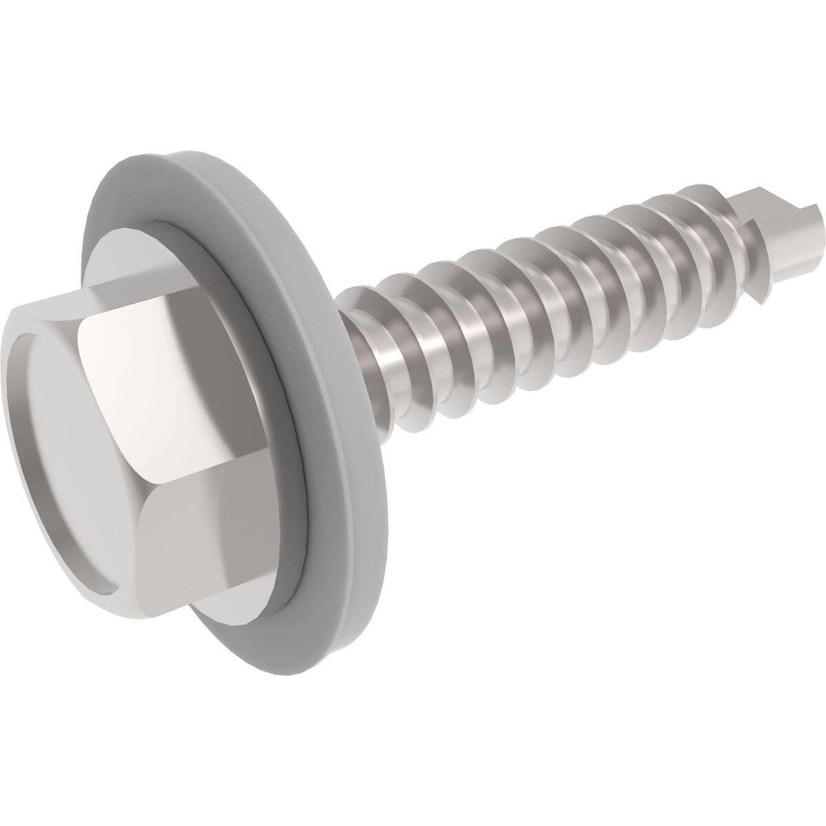 No.12 (5.5mm) x 32mm Sealing Self Drilling Hexagon Tek Screws (DIN 7504K) - Stainless Steel (A2)