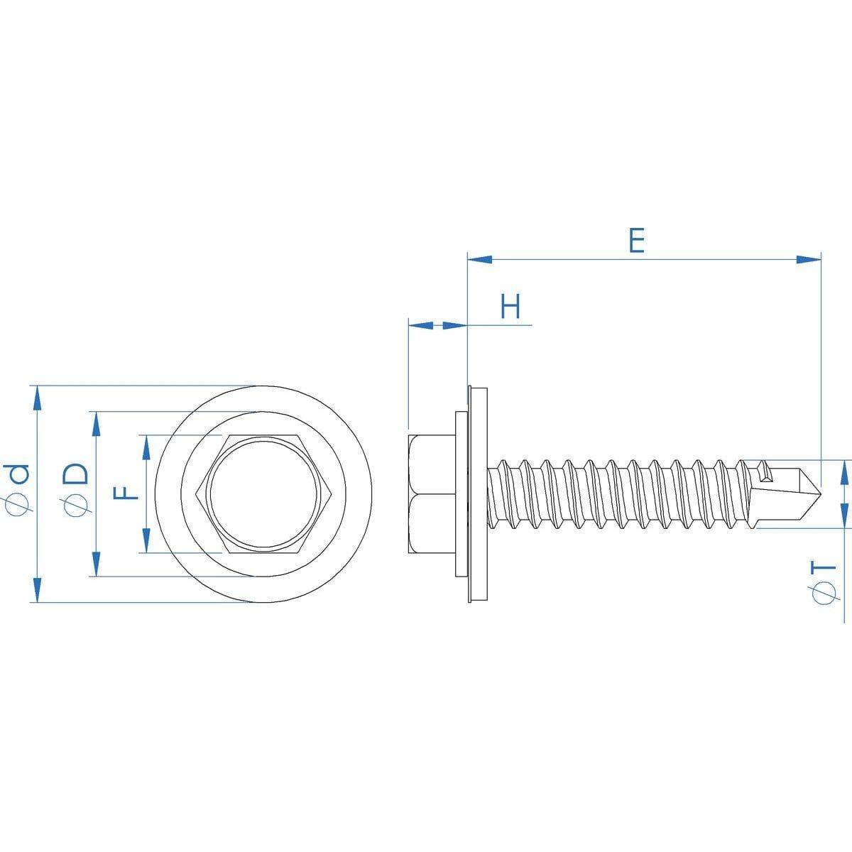 No.12 (5.5mm) x 32mm Sealing Self Drilling Hexagon Tek Screws (DIN 7504K) - Stainless Steel (A2) Drawing