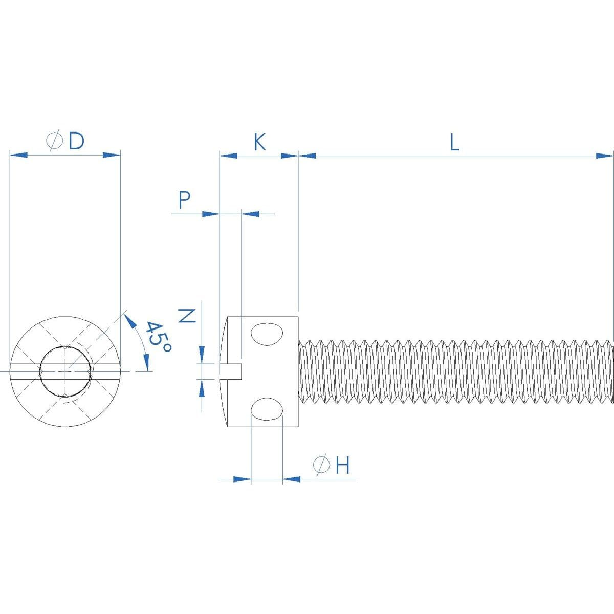 M4 x 8mm Capstan Screws (DIN 404) - A1 Stainless Steel Drawing
