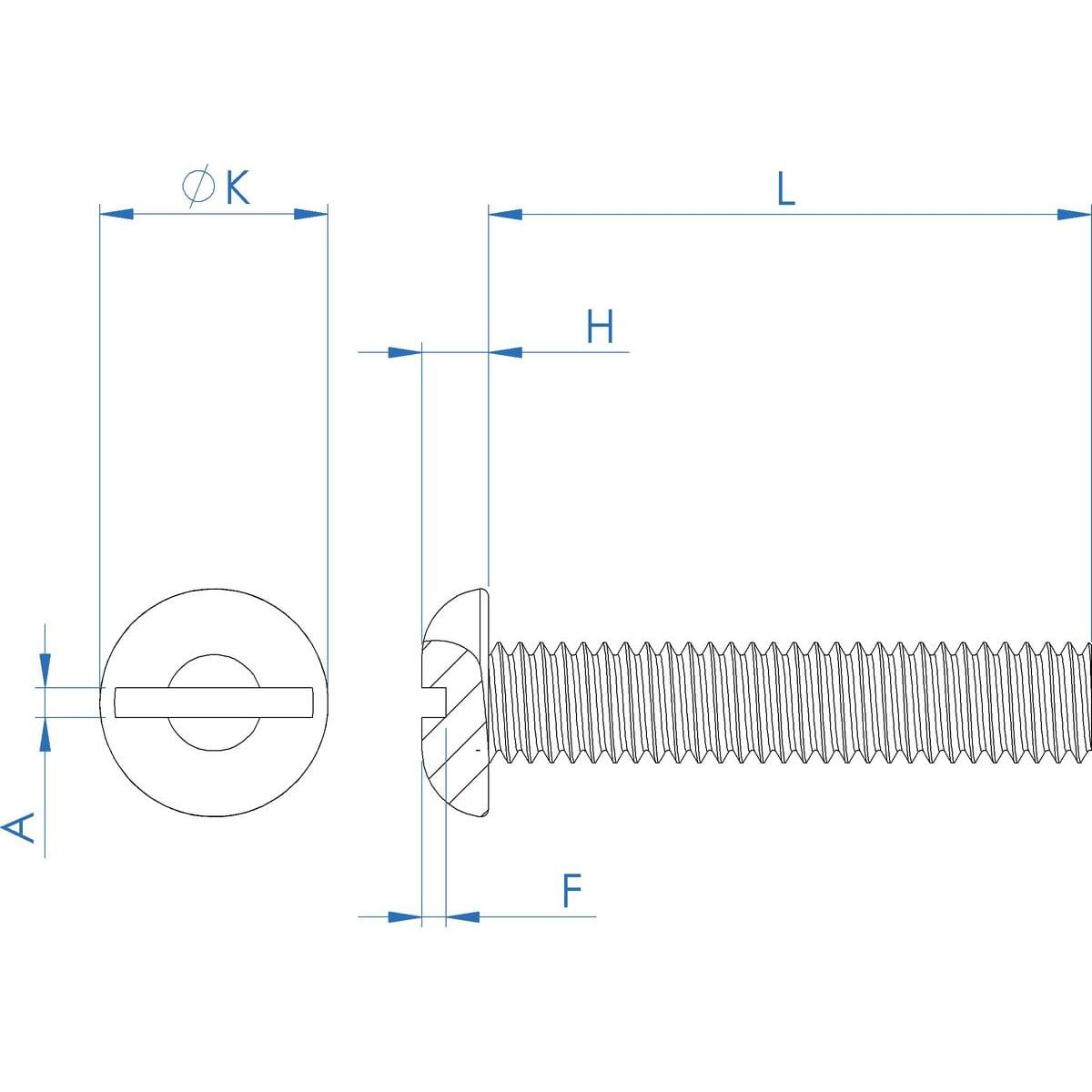1/4-28 UNF x 1.1/4 inch Slotted Round Screws (ANSI B18.6.3) - Stainless Steel (A2) Drawing
