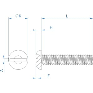 1/4-28 UNF x 1.1/4 inch Slotted Round Screws (ANSI B18.6.3) - Stainless Steel (A2)